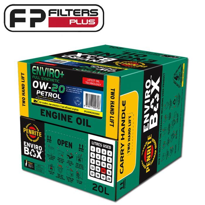 Penrite Enviro+ 20 Litres Box 0W20 Full Synthetic Engine Oil Perth EPLUS0W20020BOX Sydney Melbourne Australia