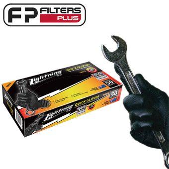 Lightning (Penrite) Workshop Gloves LQG50S Perth Melbourne Sydney Black Nitrile